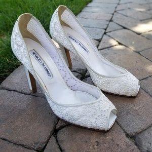 Manolo Blahnik white lace open toe heels